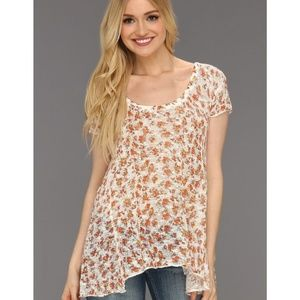 Free People Floral Knit Top